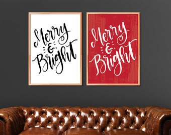 Merry and Bright printable, Christmas printable, instant art download