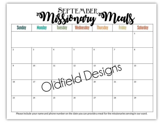 Missionary Meals Calendar Sign Up    Monthly