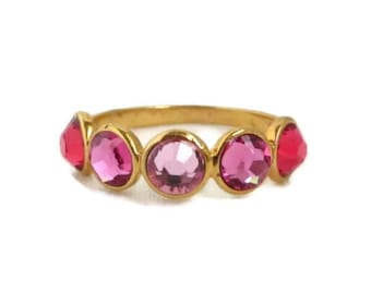 Pink Topaz Multi-Stone Ring, Vintage Gold Plated Sterling Silver Band, Size 8, Gift for Her