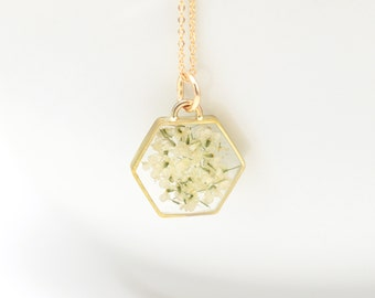 Real Flower Necklace | Hexagon Necklace | Gifts for Her | Queen Anne's Lace Hexagon | Gold Necklace