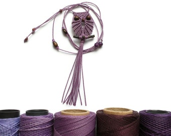 Mauve Micro Macrame Owl Necklace