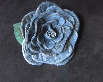 Jeans brooch. Brooch Rose made of jeans,  Rose Brooch made of jeans, Rose Brooch handmade, Rose textile, hairpin jeans Rose