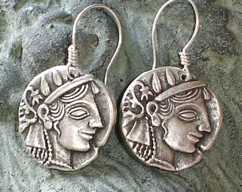 Athena Antique Silver Earrings Greek mytholody Sterling Silver earrings