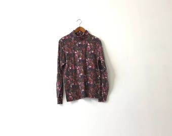 Faded Floral Turtleneck Shirt - Womens L