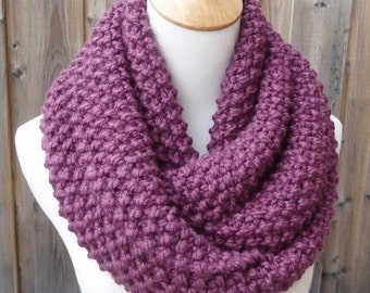 Fig Wool Infinity Scarf - Orchid Wool Infinity Scarf - Purple Wool Infinity Scarf - Bulky Knit Scarf - Circle Scarf - Ready to Ship