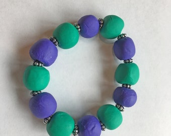 Handmade- Hand-rolled Polymer Clay Beaded Bracelet