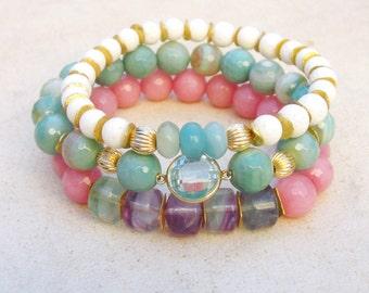 Gemstone bracelet set, sky blue topaz bracelet, pastel gemstone bracelets, luxe stacking bracelets, chic bracelets, coral, agate, amazonite
