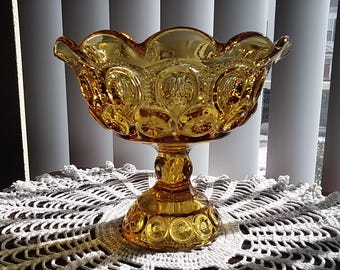 Majestic Compote, Amber Glass Compote, Centerpiece, Pressed Glass, Comport, Decorative Glass, Candy Dish, Glass Pedestal Dish