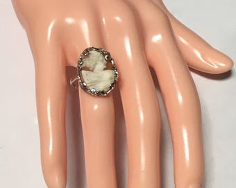 Size Adjustable, Vintage Cameo, New Sterling Silver Filigree Ring, Hand Carved Cameo, Italian Carved Conch Shell Cameo, OOAK