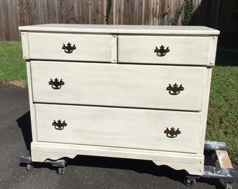 Shabby Chic, Vintage, Hand Painted Dresser - 4 Drawer
