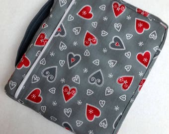 Bible Cover Custom Fit Gray with Red Hearts Your Bible Measurements Required