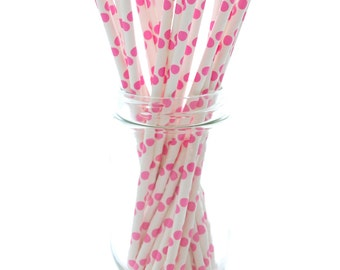 Pink Smoothie Straws, Wholesale Paper Straws, Novelty Drinking Straws, Pink Drinking Straws, 25 Pack - Hot Pink Polka Dot Straws