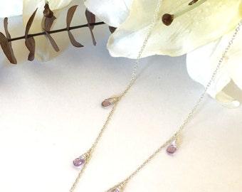 Lavender Glass Wire Wrapped Briolette Pendant Necklace