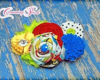 Circus Hair Bow, Red, Yellow, Blue, Baby Headband, Hair Accessory, Fabric Flowers, Hair Clip, Baby Girls Hair Bows, Fabric Flower Brooch