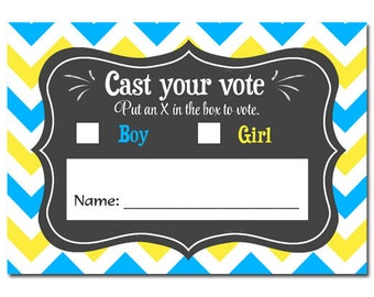 Gender Reveal Voting Cards Printable - Baby Q Gender Reveal Collection