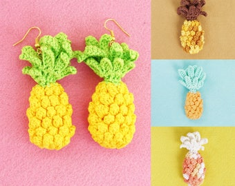 Pineapple brooch, earrings or bobby pin Crochet jewelry Yellow green orange brown Cute summer accessory Gift under 20 for her Tropical fruit