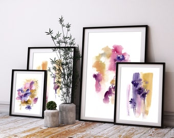 Abstract print set of 4 fine art prints, abstract botanical floral watercolor painting modern wall art set, abstract prints set