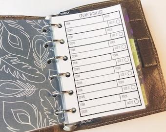 Printed Pocket Size Wish List Inserts