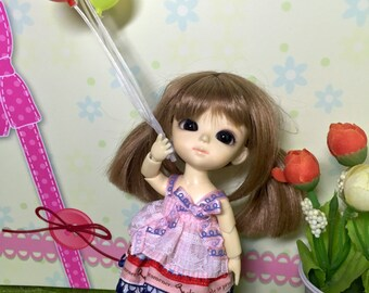 ribbon top with strawberry skirt doll outfit for lati yellow pukifee muichan 1/8 bjd dolls (handmade)
