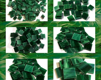 Everglade Green Squares Stained Glass Mosaic Tiles Hand Cut Spectrum Opal