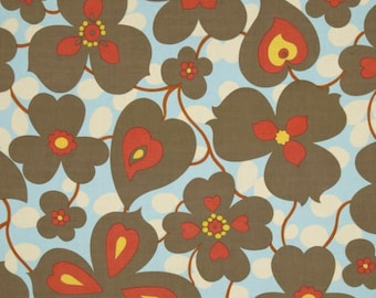 Amy Butler Lotus Morning Glory in Linen Fabric - Amy Butler Fabric by the Yard - Floral Fabric - Red White Blue Fabric - Summer Fabric - OOP
