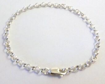Sterling Silver 4mm Link Rolo Chain Bracelet