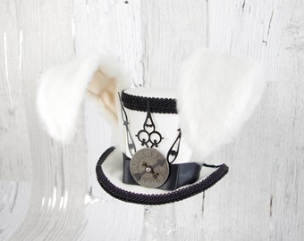 The White Rabbit - Rabbit Eared Black and White Steampunk Medium Mini Top Hat Fascinator, Alice in Wonderland, Mad Hatter Tea Party, Derby