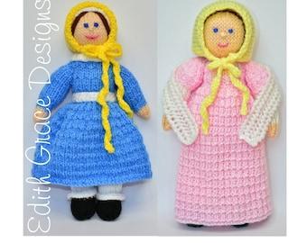 Toy Knitting Pattern, Victorian Doll, Georgian Doll, Doll Knitting Pattern, Rag Doll Pattern,Knit Doll Yarn,Empire Line Dress, Bonnet, Shawl
