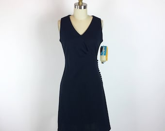 Leslie Fay New Vintage 1960s Black Button Down Cocktail Dress