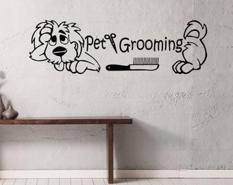 Grooming Salon Wall Decor, Pet Grooming Decals, Dog, Comb, Scissors, Vinyl Sticker Wall Art, Pet Shop, Home Decor, Art Mural Ms274