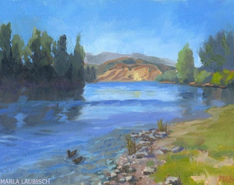 Clutha River oil painting