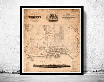 Old Map of Toronto, Ontario Canada 1842 Vintage map Toronto