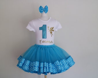 Turquoise golden Fairy themed ribbon trimmed first,second, third, fourth, fifth,1 birthday tutu set, birthday tutu, girls, toddler, set
