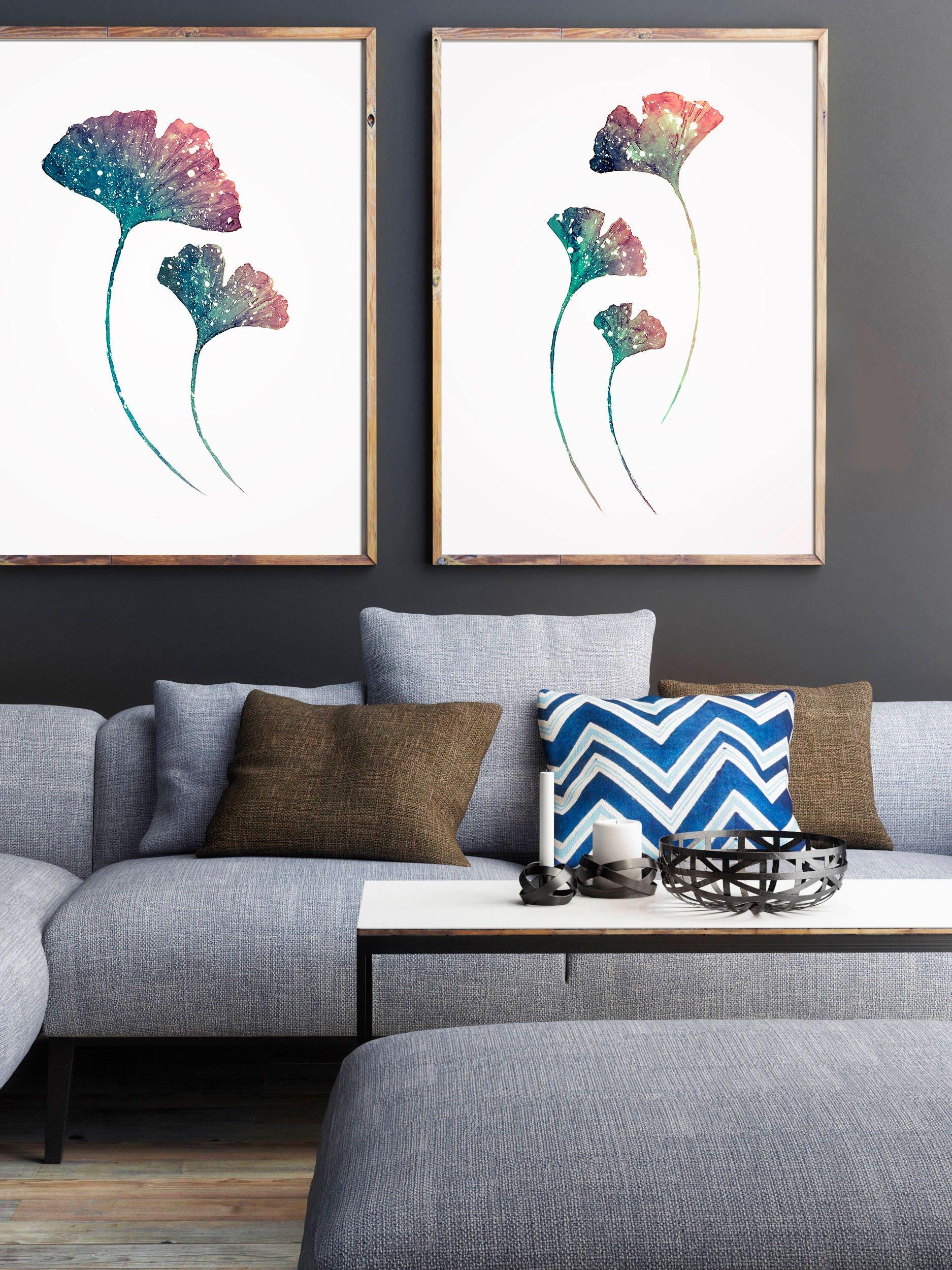 Set de 2 Láminas de planta Ginkgo Acuarela azul Pintura de