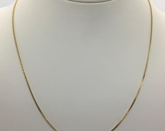 "14k Yellow Gold 18"" Inch Box Link Chain Necklace Excellent Condition"