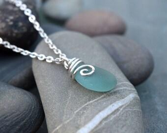 Blue Sea Glass Silver Chain Necklace