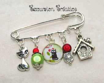 """PIN 5 cm """"Bird and Ladybug cat"""" green and Red cabochon glass and silver-tone charms 12"""