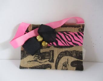 Burlap purse, small purse, small bag, pink zebra, brown, black, pink, accessory, bags, bags and purses, clutch purse, purse with handle