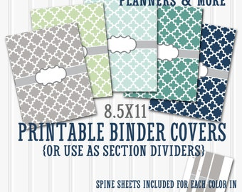 Binder Cover Printables SET 8.5X11-JPG Format (not editable)-Includes 5 binder covers and 5 matching printable spine sheets-3 width sizes