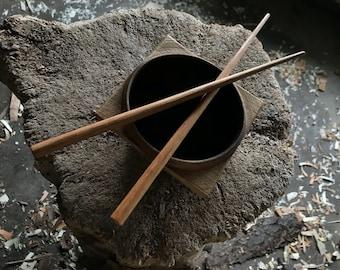"""10"""" round cherry chopsticks, hand carved"""