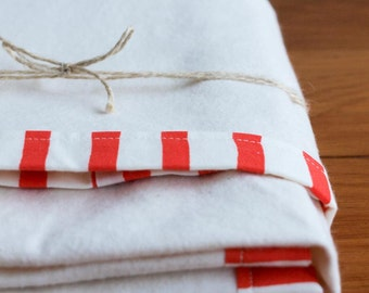 Flannel Baby Blanket; Red, White Receiving Blanket; Organic Cotton Baby Blanket Gift; Essential Baby Gear; Nautical Nursery, SAILOR STRIPES