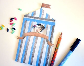 DIY Circus Tent Birthday Card Printable PDF Tattooed Lady Paper Puppet for Children, for Paper Play, Unique Fun, Blue, Stripes
