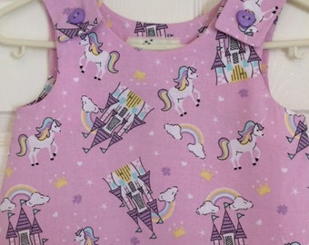 Unicorn pinafore, pink unicorn dress, girls pinafore dress, princess castle pinafore, unicorns and rainbow clothes, girls summer dress, cute