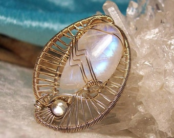 WEDDING DAY - OOAK Wire Wrapped Yin/Yang Pendant in Rainbow Moonstone, Sterling Silver Wire and 14K Gold-Filled Wire