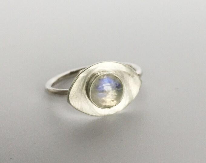 rainbow moonstone ring, evil eye, stacking,grey stone, rainbow moonstone, minimal, sterling silver, polished, modern jewelry