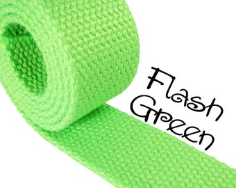 """Cotton Webbing - Flash Green - 1.25"""" Medium Heavy Weight for Key Fobs, Purse Straps, Belting - SEE COUPON"""
