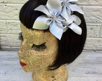 Silver Metallic Faux Leather Flower Hair Clip Pinup 1950's Inspired