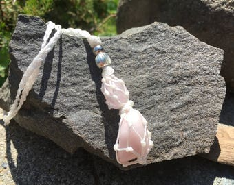 Rainbow Rose Quartz And Silver Macrame Necklace