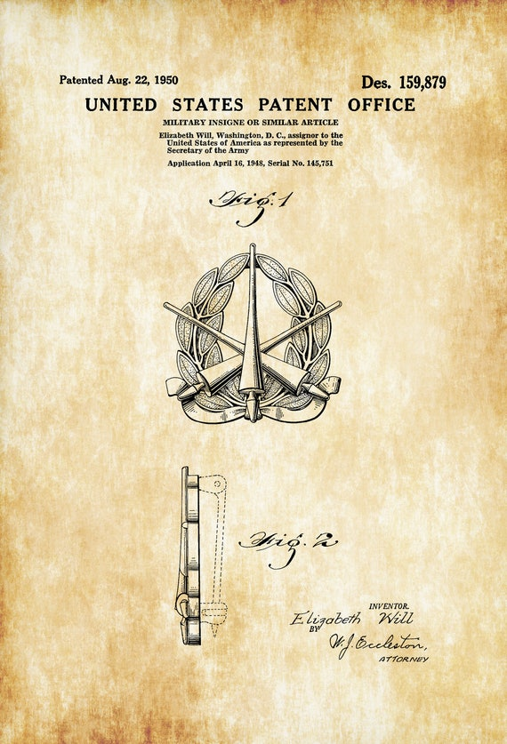 Army Insigne Patent Patent Print Wall Decor Military