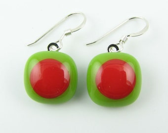 Pea Green / Pimento Fused Glass Earrings. Made To Order. Fused Glass Jewelry. Handcut & designed in Texas. Simple Earrings. Modern Jewelry.